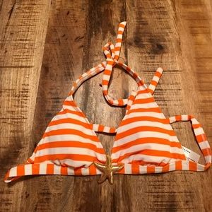 NEW- Orange/ white stripe halter bikini top size L